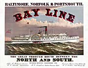 Currier And Ives Bay Line Steamship canvas prints