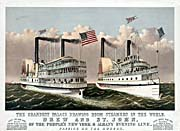 Currier And Ives Drew and St. John Steamers on the Hudson River