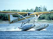 U S Fish and Wildlife Service Float Plane in Water