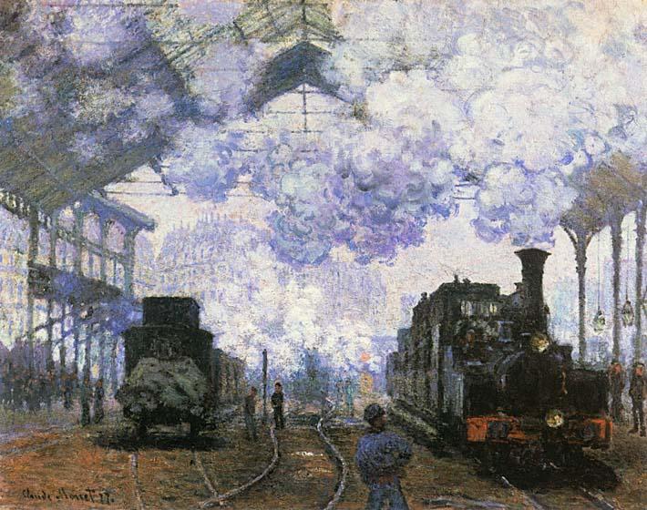 Claude Monet Gare Saint Lazare, Arrival of a Train stretched canvas art print