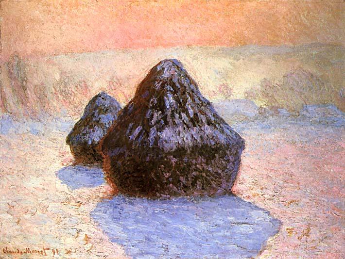 Claude Monet Haystacks, Snow Effect Winter stretched canvas art print