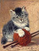 Henriette Ronner Knip Kitten with a Ball of Yarn