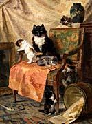 Henriette Ronner Knip Kittens at Play