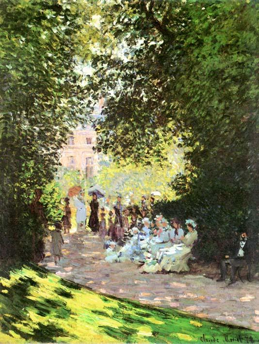 Claude Monet Parisians Enjoying the Parc Monceau, Paris stretched canvas art print