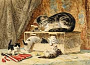 Henriette Ronner Knip A Cat and Her Kittens Playing with a Mousetrap
