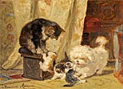 Henriette Ronner Knip Kittens Playing with a Dog