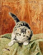 Henriette Ronner Knip Cat with Dragonfly