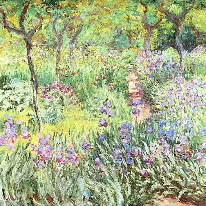 Claude Monet Claude Monet's Iris Garden at Giverny stretched canvas art print