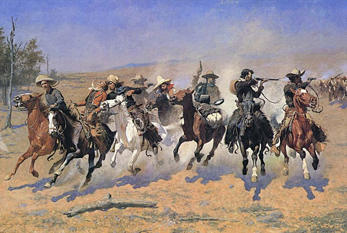 Frederic Remington A Dash For The Timber stretched canvas art print