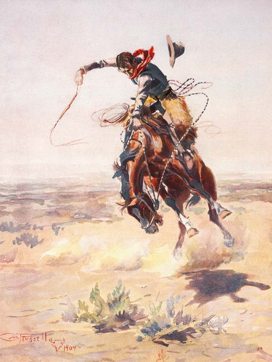 Charles Russell A Bad Hoss stretched canvas art print