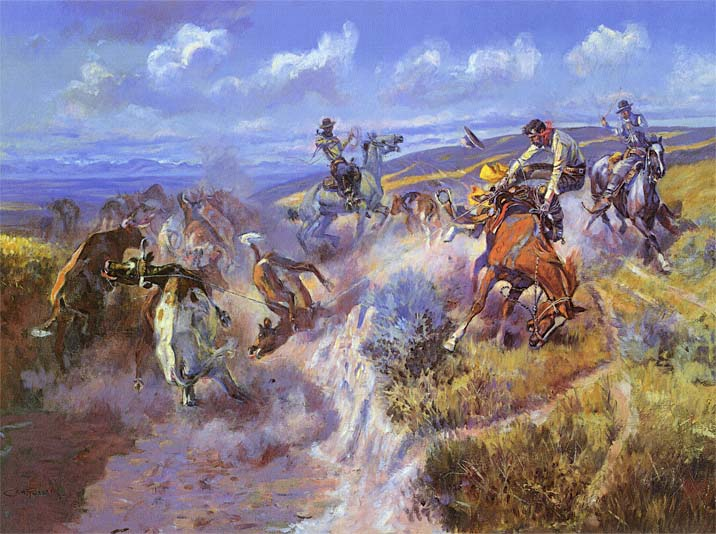 Charles Russell A Tight Dally and Loose Latigo stretched canvas art print