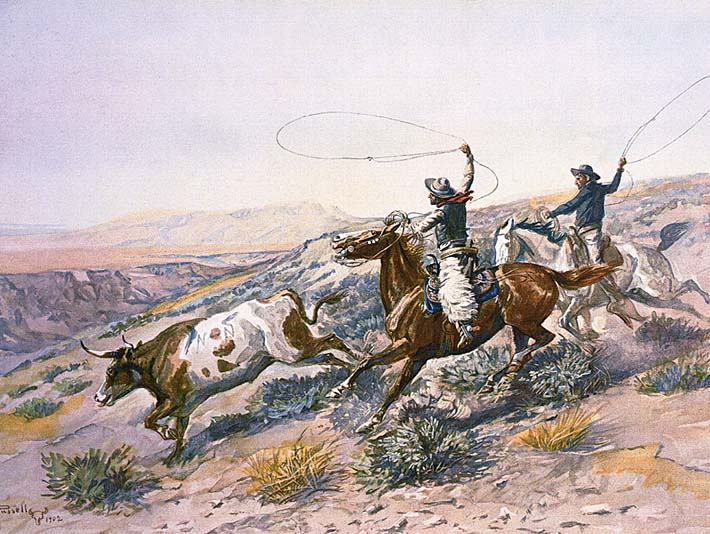 Charles Russell Buccaroos stretched canvas art print