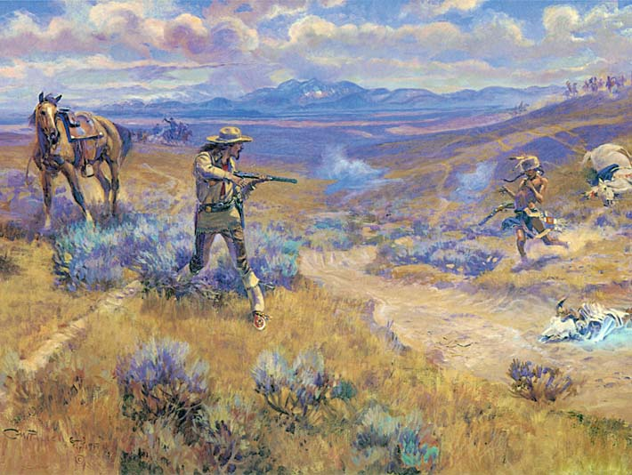Charles Russell Buffalo Bill's Duel with Yellowhand stretched canvas art print
