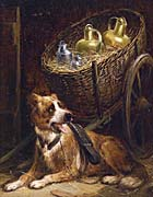 Henriette Ronner Knip Dog with Cart