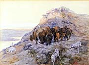 Charles Russell Buffalo Herd at Bay