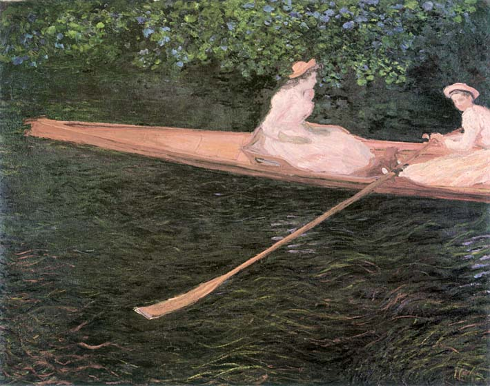 Claude Monet In a Canoe on the Epte River stretched canvas art print