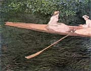 Claude Monet In a Canoe on the Epte River