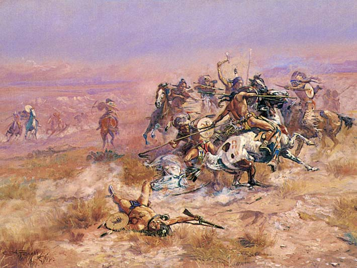 Charles Russell Counting Coup stretched canvas art print