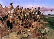 Charles Russell Lewis And Clark Expedition Meeting With Indians canvas prints