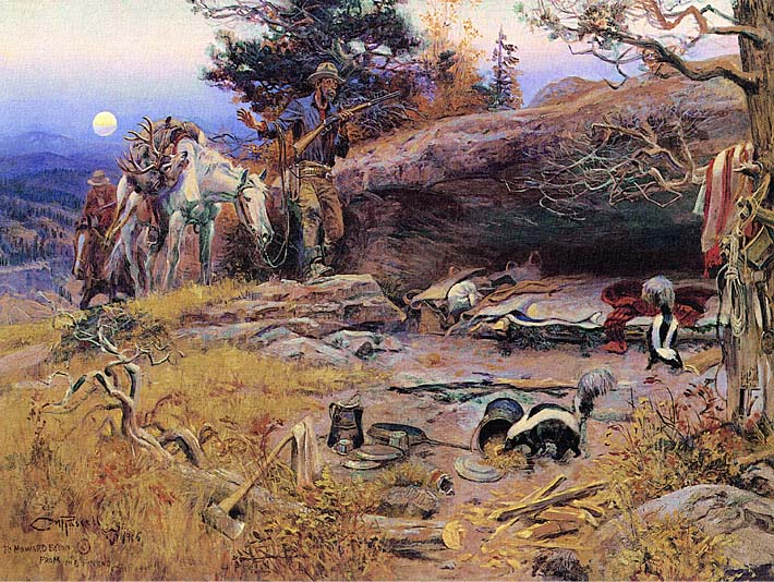 Charles Russell Man's Weapons are Useless when Nature Goes Armed stretched canvas art print