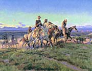 Charles Russell Men Of The Open Range Detail canvas prints