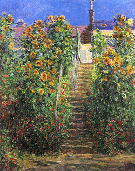 Claude Monet Steps at Vetheuil stretched canvas art print