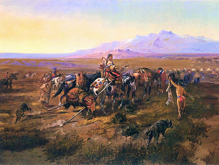 Charles Russell Returning to Camp stretched canvas art print
