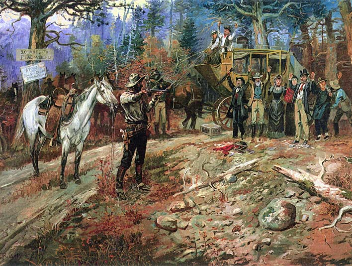 Charles Russell The Hold Up stretched canvas art print