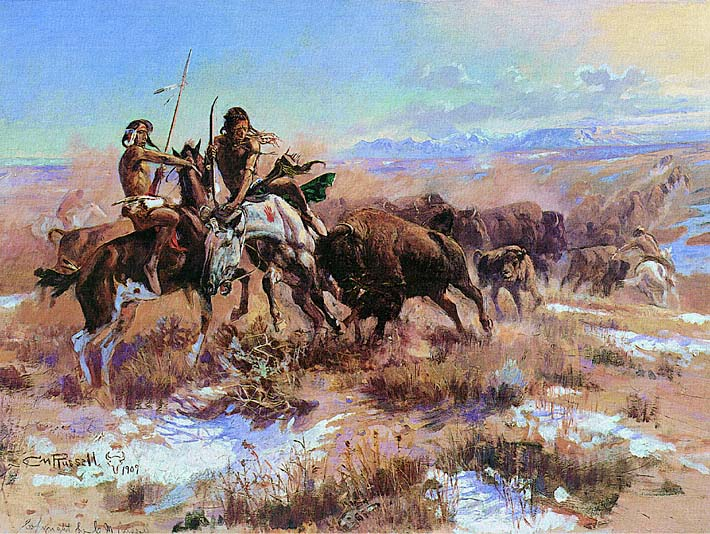 Charles Russell The Wounded Buffalo stretched canvas art print