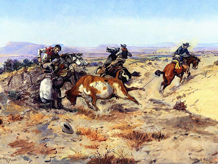 Charles Russell When Cowboys Get in Trouble stretched canvas art print