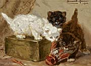 Henriette Ronner Knip Kittens Playing with a Shuttle