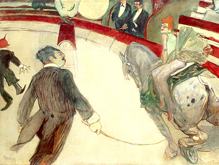 Henri de Toulouse Lautrec At the Cirque Fernando the Ringmaster stretched canvas art print