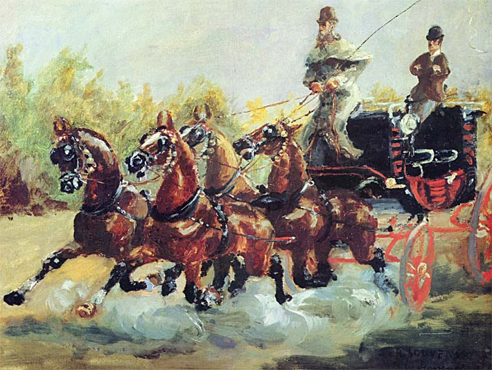 Henri de Toulouse Lautrec Count Alphonse de Toulouse Lautrec Driving his Mail Coach stretched canvas art print