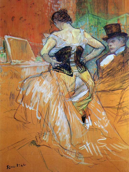 Henri de Toulouse Lautrec Study for Elles Woman in a Corset stretched canvas art print