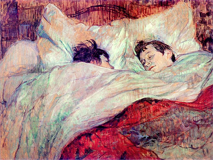 Henri de Toulouse Lautrec The Bed Le Lit stretched canvas art print