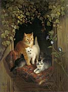 Henriette Ronner Knip Mother Cat with Her Kittens