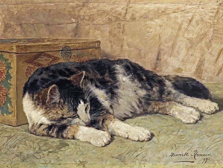 Henriette Ronner Knip Cat Nap stretched canvas art print