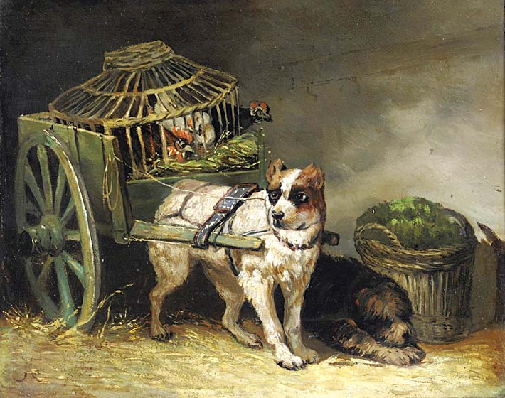 Henriette Ronner Knip Pair of Hunting Dogs stretched canvas art print