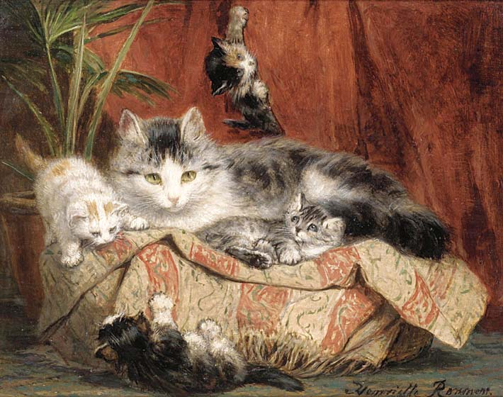 Henriette Ronner Knip Playtime stretched canvas art print