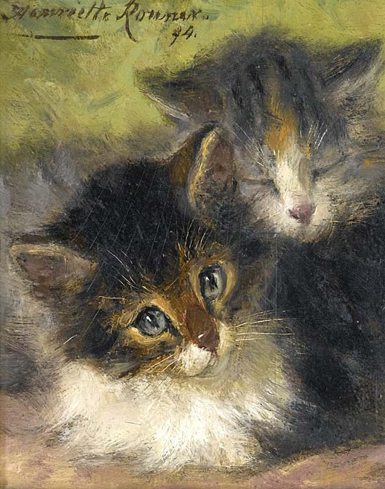 Henriette Ronner Knip Painting of Two Kittens stretched canvas art print