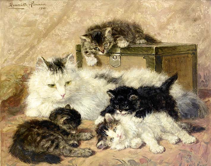 Henriette Ronner Knip Remembrance of Happy Days stretched canvas art print