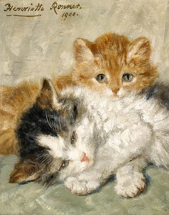 Henriette Ronner Knip Sleepy Kittens stretched canvas art print