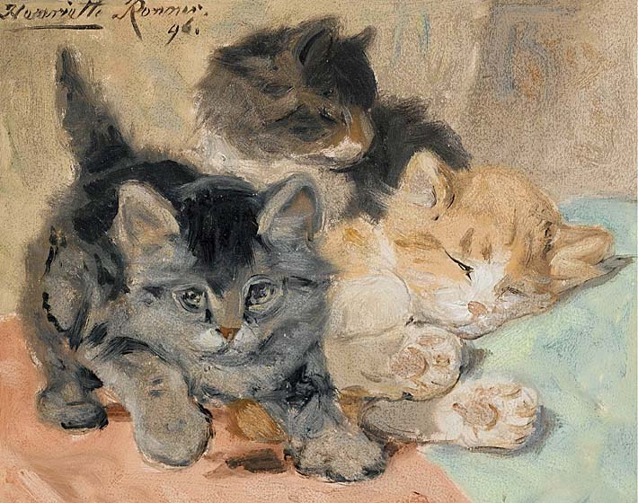Henriette Ronner Knip Three Kittens stretched canvas art print