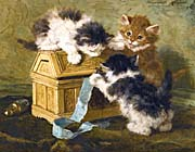 Henriette Ronner Knip Three Kittens with a Casket and Blue Ribbon