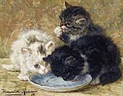 Henriette Ronner Knip Three Kittens, Dinnertime