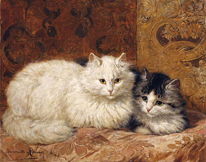 Henriette Ronner Knip Two Cats on a Cushion stretched canvas art print