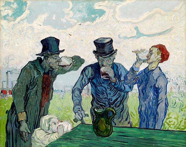 Vincent van Gogh The Drinkers stretched canvas art print