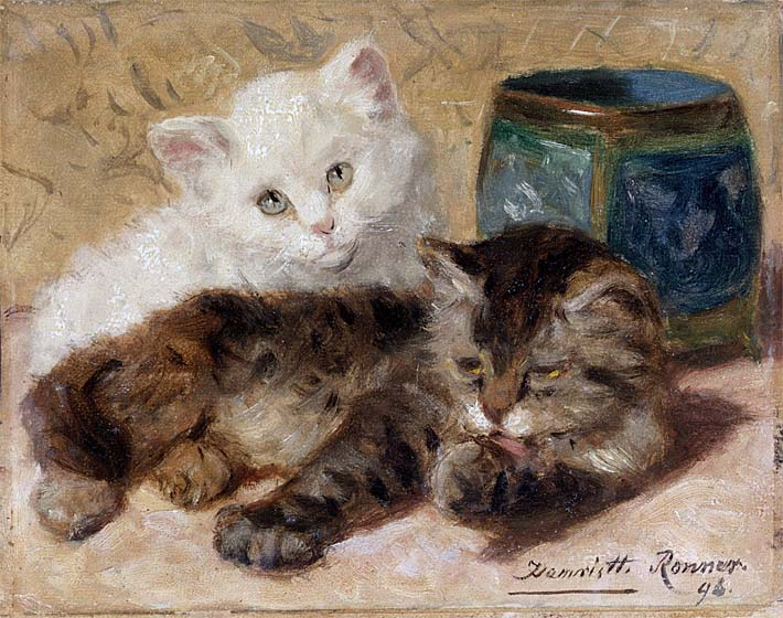 Henriette Ronner Knip Two Cute Kittens stretched canvas art print