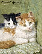 Henriette Ronner Knip Two Kittens Sitting on a Cushion