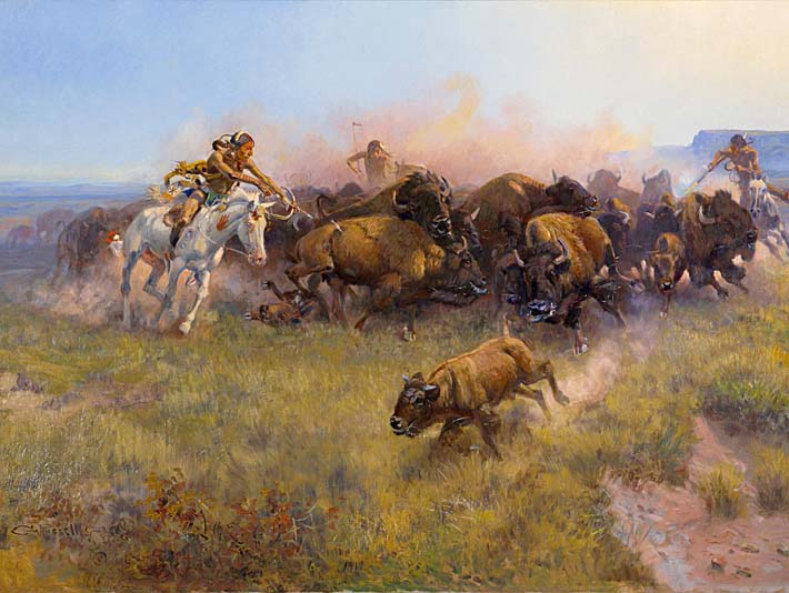 Charles Russell Buffalo Hunt No. 39 stretched canvas art print